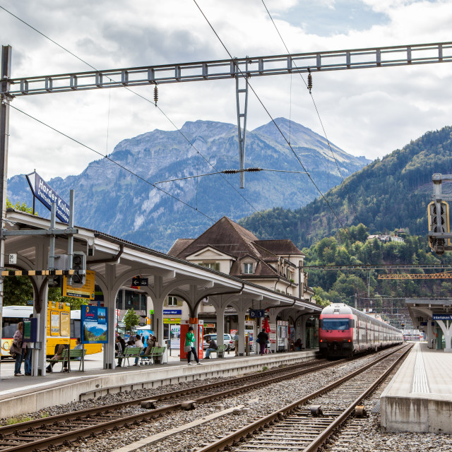 """Interlaken West station, Interlaken, Switzerland, Europe"" stock image"