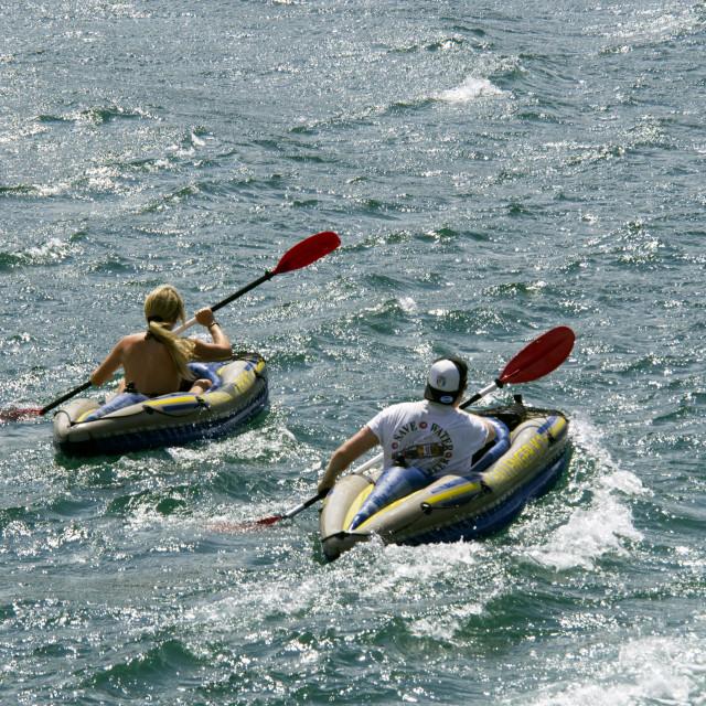 """""""Canoeists, Salcombe"""" stock image"""