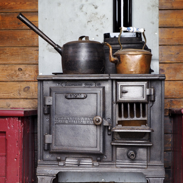 """Cast iron cooking range"" stock image"