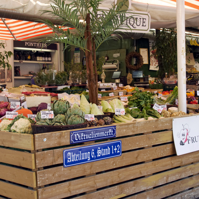 """Fruit and vegetable stall in The Viktualienmarkt"" stock image"