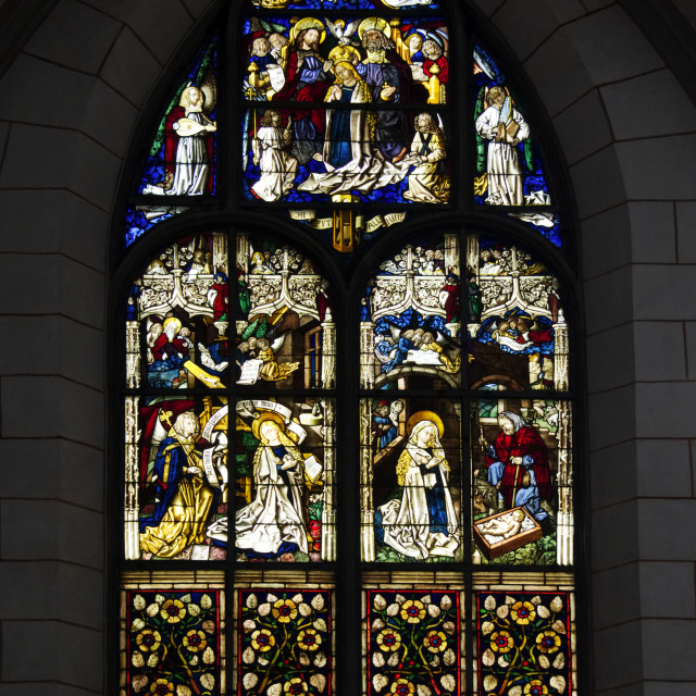 """Stained glass window in Augsburg Cathedral"" stock image"