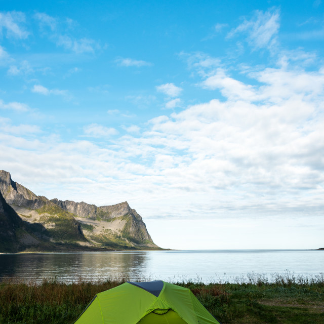 """""""Camping by fjord"""" stock image"""