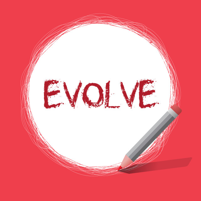 """""""Text sign showing Evolve. Conceptual photo develop gradually Improve your..."""" stock image"""