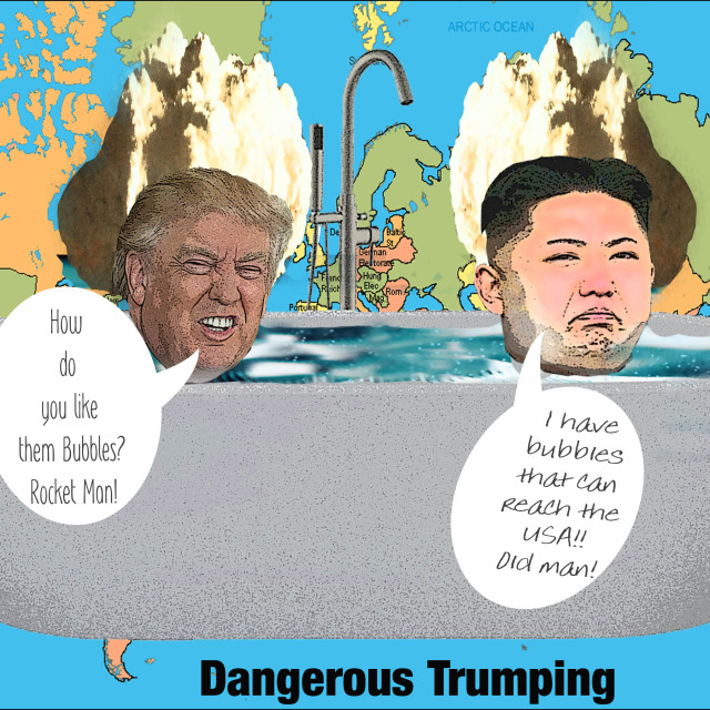 """Cartoon of Donald Trump & KIm Jong Un"" stock image"