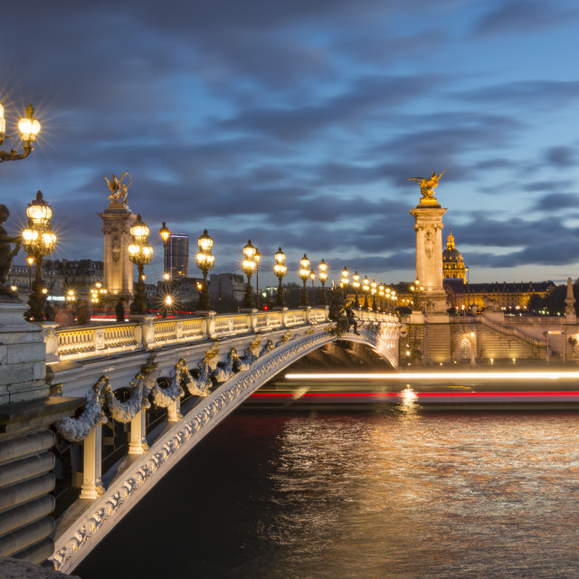 """Evening on Pont Alexandre III in Paris, France"" stock image"