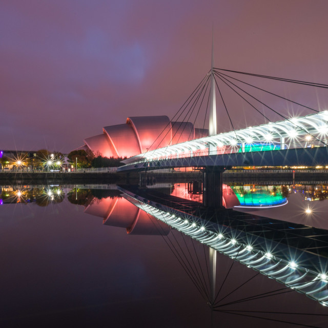 """The SEC in Glasgow at night"" stock image"