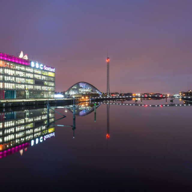 """The BBC Scotland building by the river Clyde in Glasgow"" stock image"