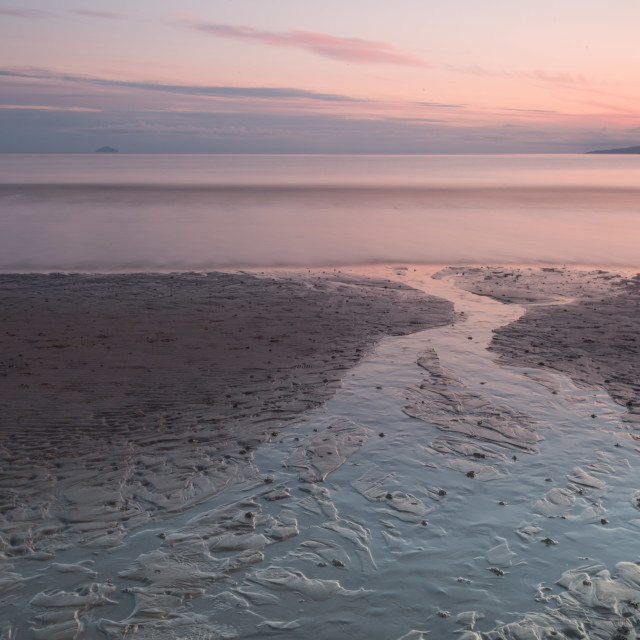 """Last light over the sea in Troon, Ayrshire, Scotland"" stock image"