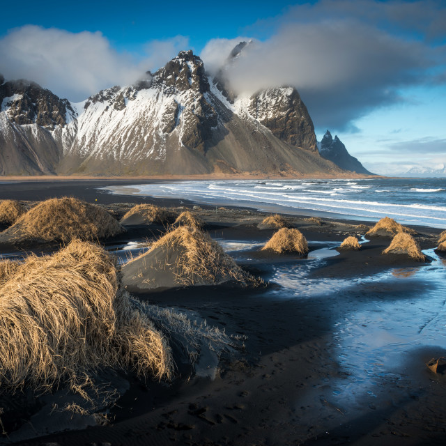 """The beach and mountains at Vestrahorn in Iceland"" stock image"