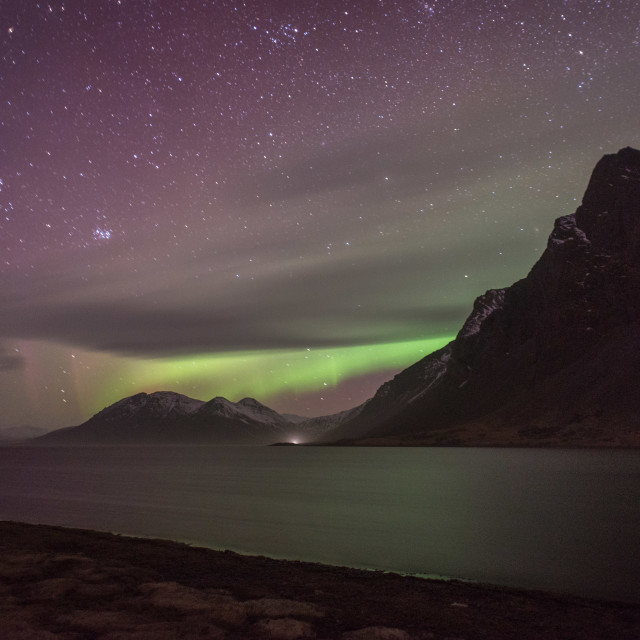 """The night sky and northern lights at Eystrahorn in Iceland"" stock image"