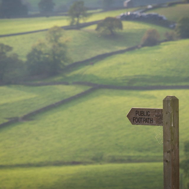 """A public footpath sign in the Yorkshire Dales"" stock image"