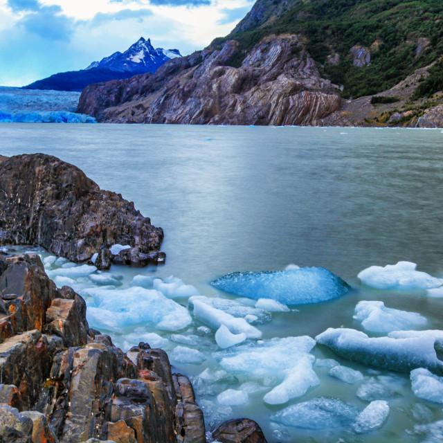"""Lake and glacier Grey"" stock image"