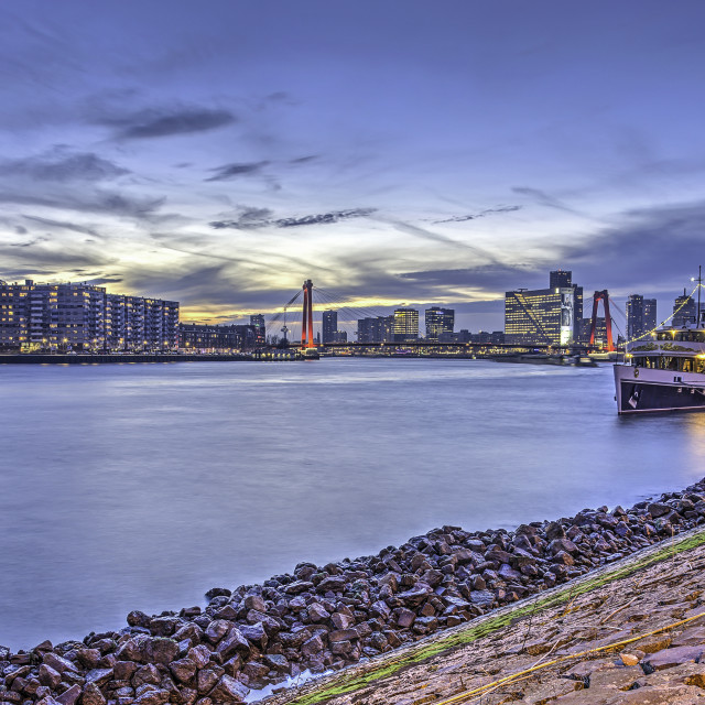 """""""Nieuwe Maas river in the blue hour"""" stock image"""