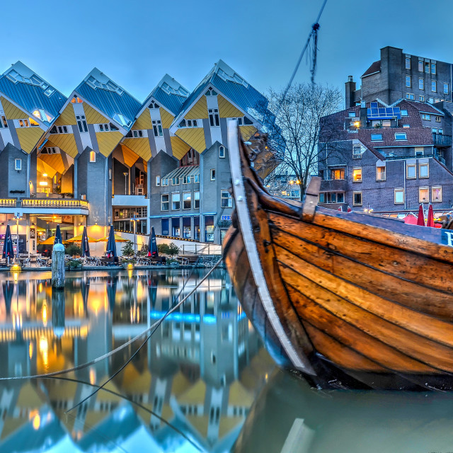 """Cube houses and historic barge"" stock image"