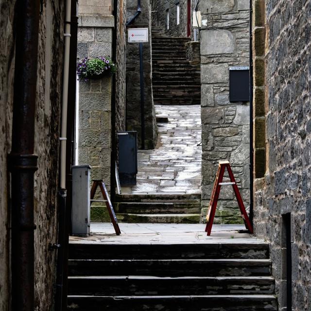 """A Lerwick Lane In Characteristic Stonework"" stock image"