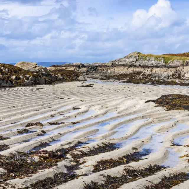 """Sand Ridges, Arisaig Beach"" stock image"