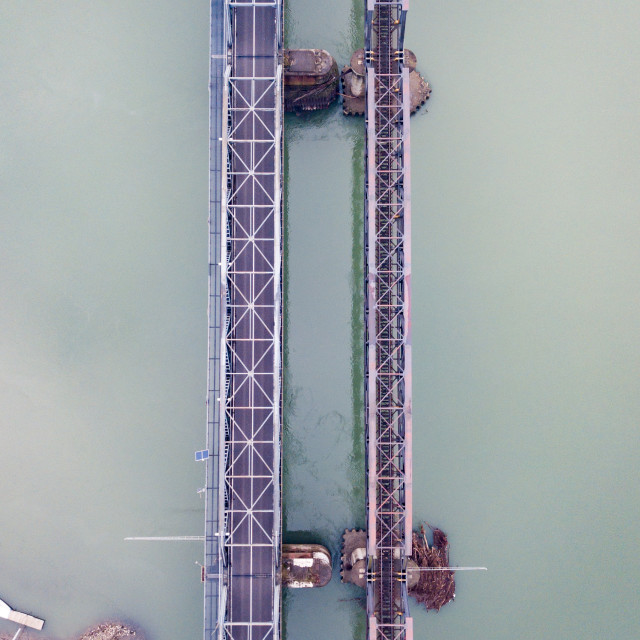"""""""Aerial view of a bridge in the fog"""" stock image"""