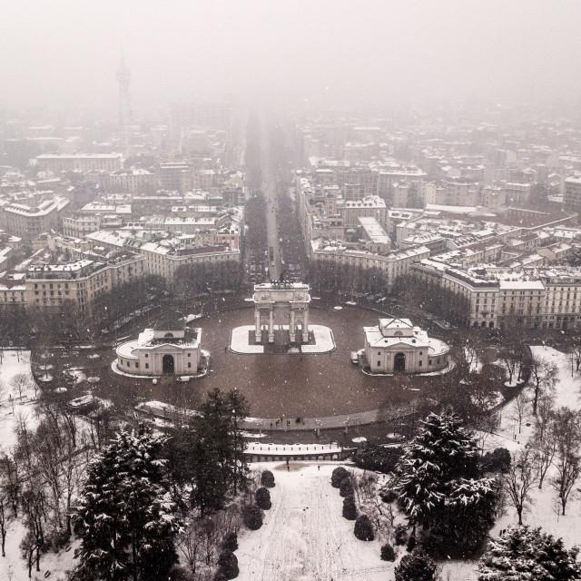 """Aerial View Winter Milan"" stock image"