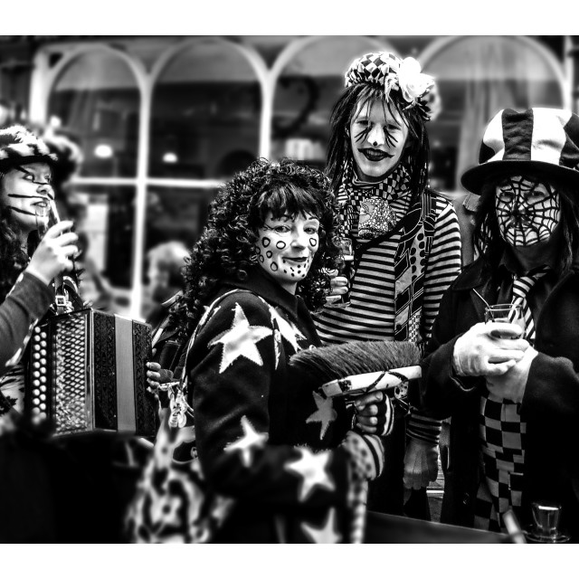 """Mummers Imbibing after the Parade"" stock image"