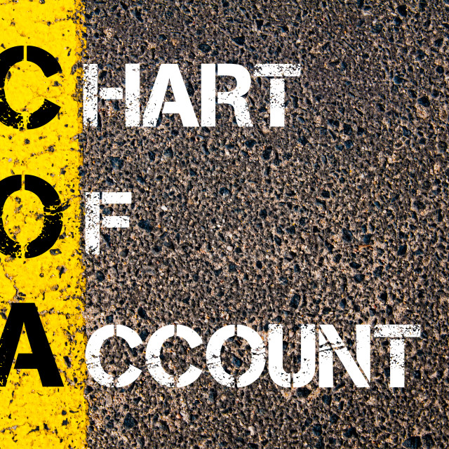 """Business Acronym COA – Chart of Account. Yellow paint line on the road..."" stock image"