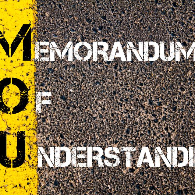"""Business Acronym MOU - Memorandum Of Understanding"" stock image"