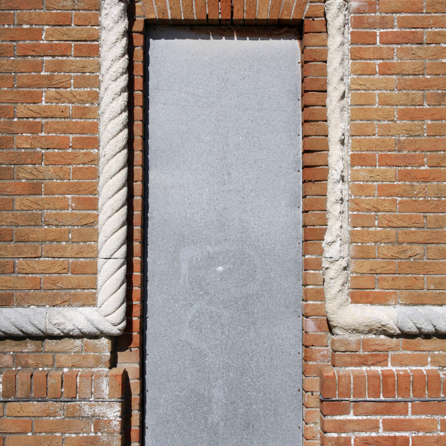 """""""Old doorway with metal security cover"""" stock image"""