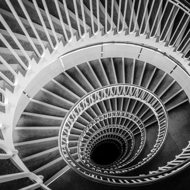 """Black and White Staircase"" stock image"