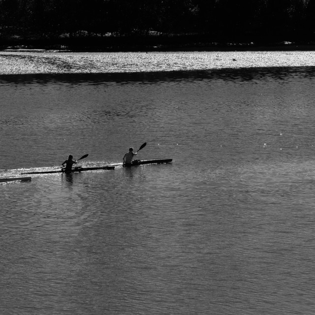"""River Canoeing Paddlers Bridge"" stock image"