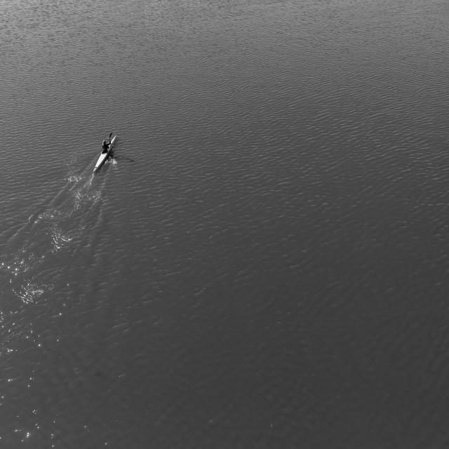 """""""River Canoeing Paddler Black White Landscape"""" stock image"""