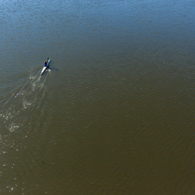 """River Canoeing Paddler Bridge"" stock image"