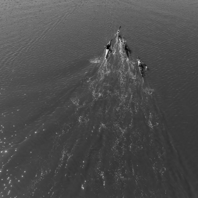 """River Canoeing Paddlers Black White Landscape"" stock image"