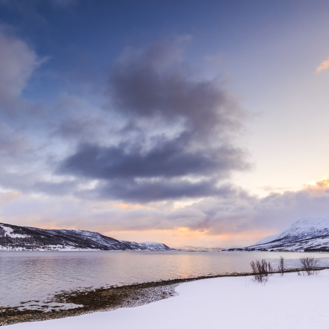 """""""Sunset at the lakeside with rocks of a fjord during low tide in a snowy..."""" stock image"""