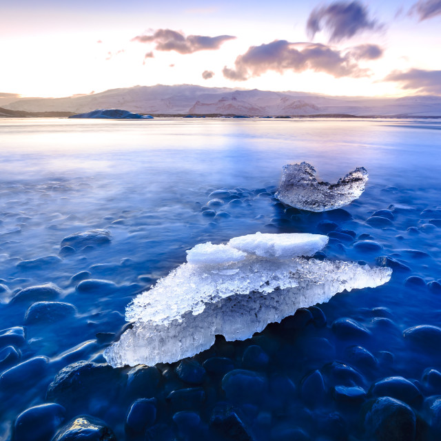 """Global warming affects Jokulsarlon glacier lake in Iceland. Sunset during..."" stock image"