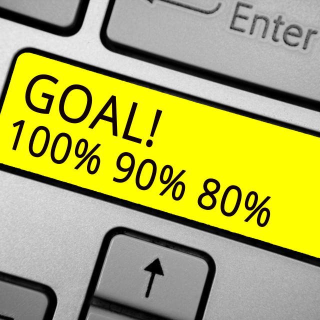 """""""Handwriting text writing Goal 100 90 80. Concept meaning Percentage of your..."""" stock image"""