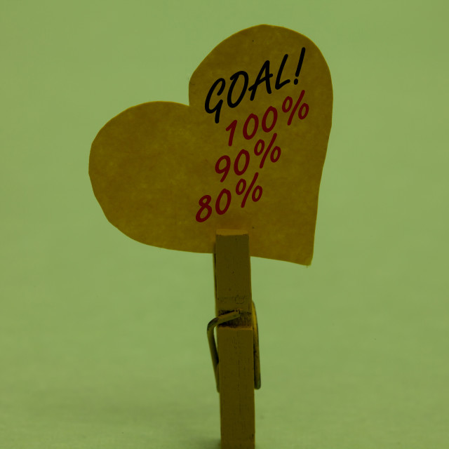 """""""Handwriting text Goal 100 90 80. Concept meaning Percentage of your..."""" stock image"""