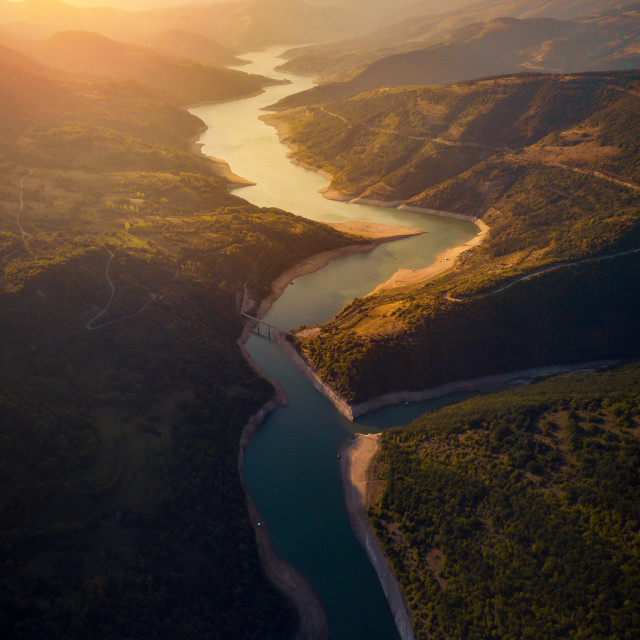 """""""River winding in the mountain aerial view"""" stock image"""