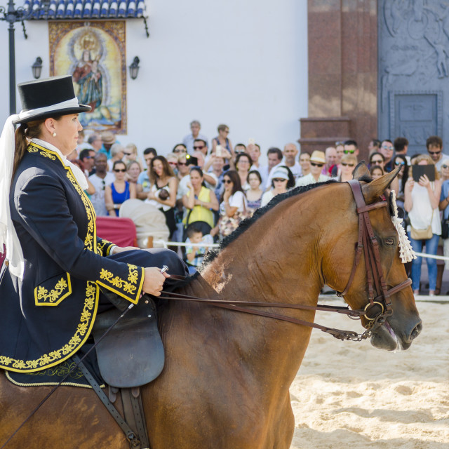 """Female equestrian, horse dressage celebration, event, Fuengirola, Málaga, Andalusia, Spain."" stock image"