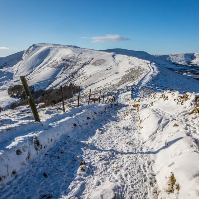 """Snowbound Mam Tor And Hollins Cross"" stock image"