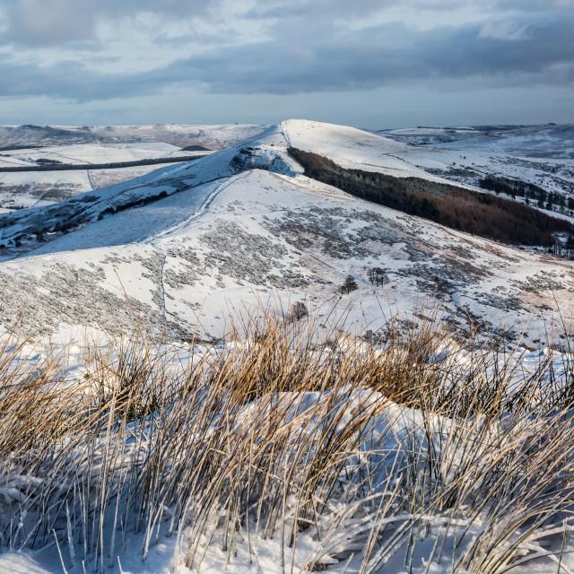 """Snowy Great Ridge in the Peak District"" stock image"