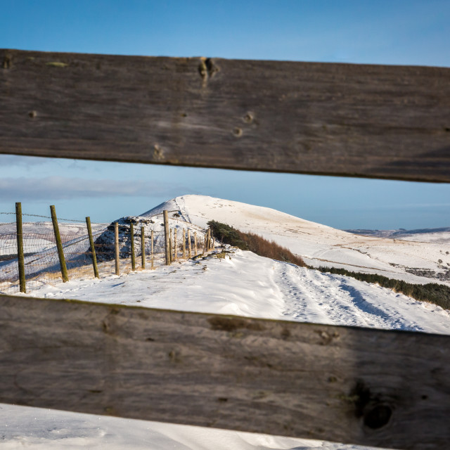 """""""Snow Covered Losehill Pike"""" stock image"""