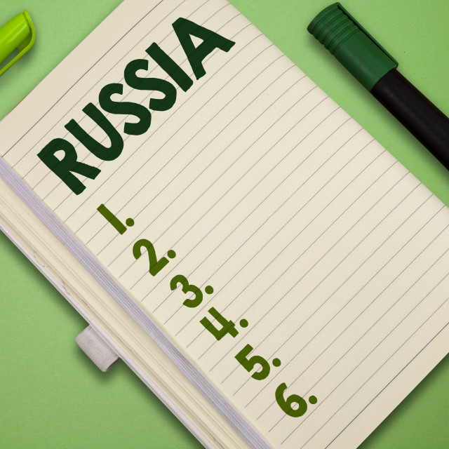 """""""Handwriting text Russia. Concept meaning worlds largest nation borders..."""" stock image"""
