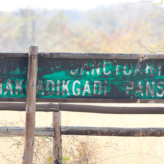 """Makgadikgadi Pans National Park expansive landscape - Sign"" stock image"
