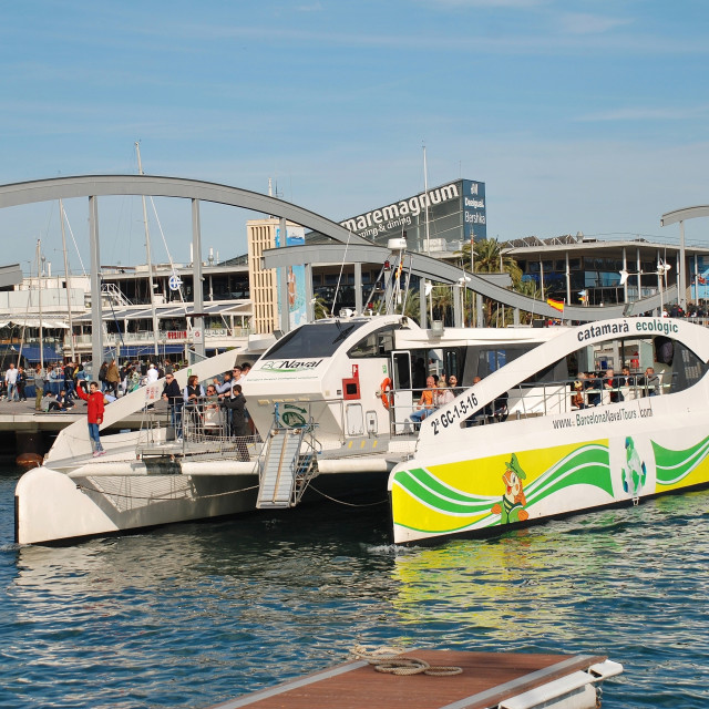 """Eco Catamaran, Barcelona"" stock image"