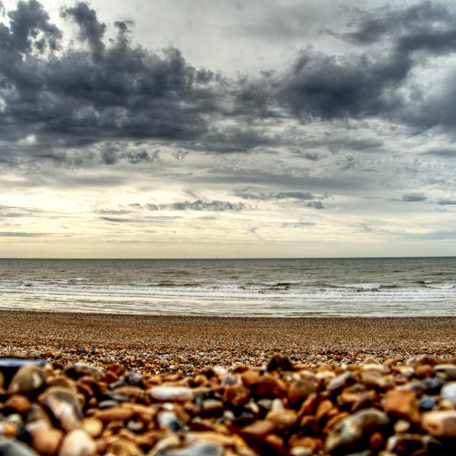 """Morning walk along Pevensey Bay"" stock image"