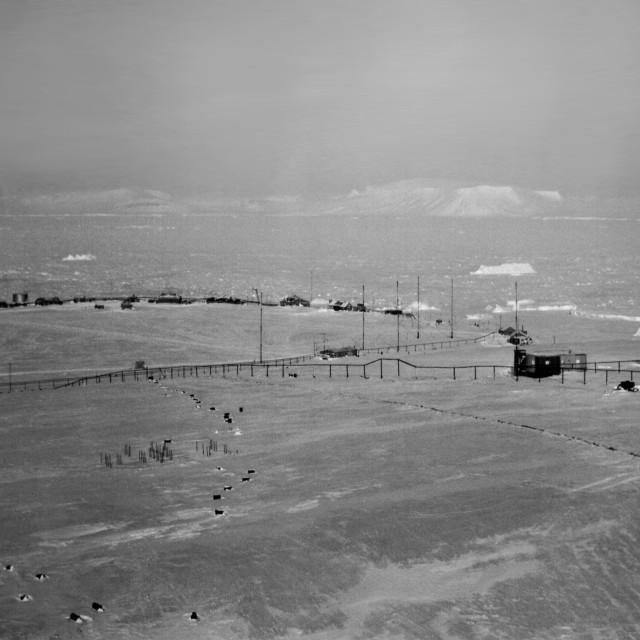 """Polar station on Heiss Island, Franz Josef Land. Arctic."" stock image"