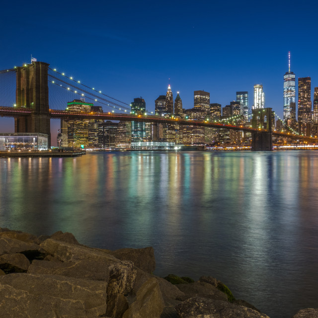 """Brooklyn Bridge and Downtown Manhattan view after sunset"" stock image"