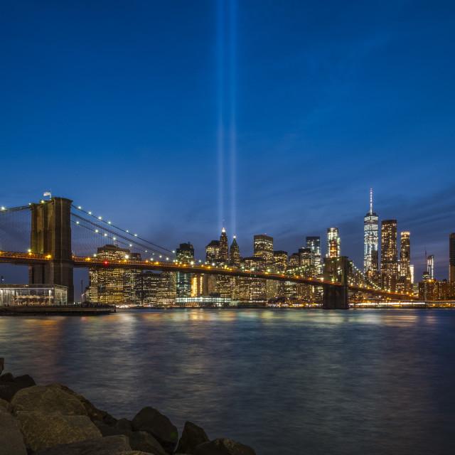 """9/11 Tribute in Light"" stock image"