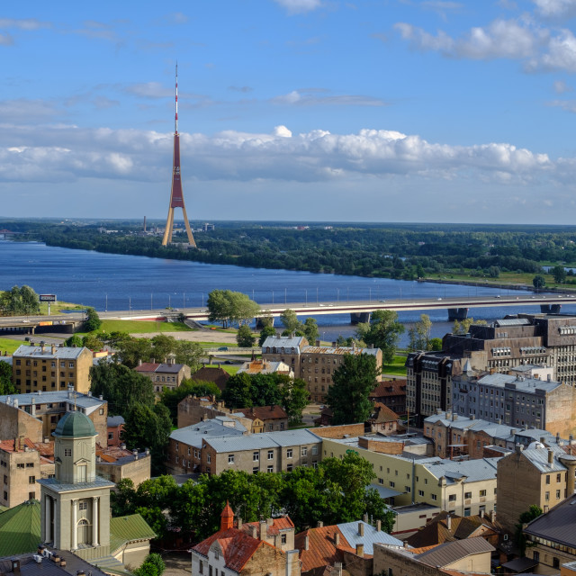 """""""Riga center viewed from above"""" stock image"""