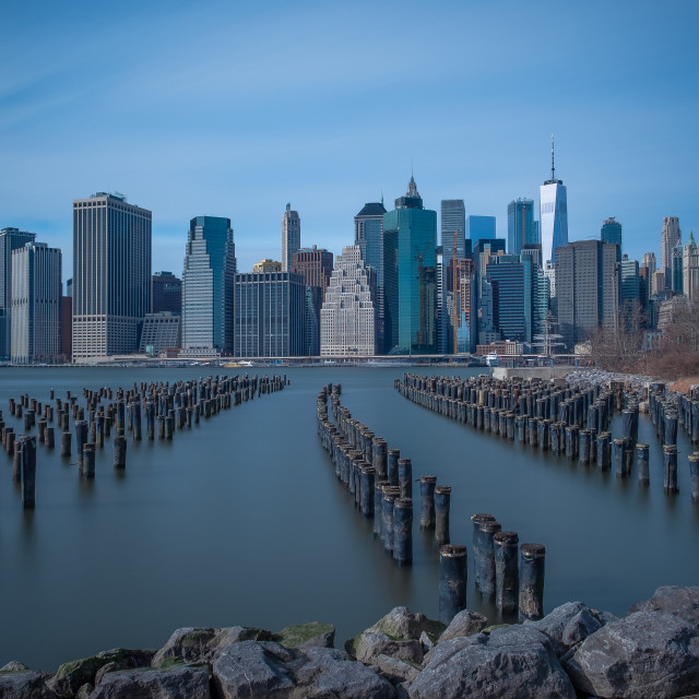 """View of Lower Manhattan skyline"" stock image"