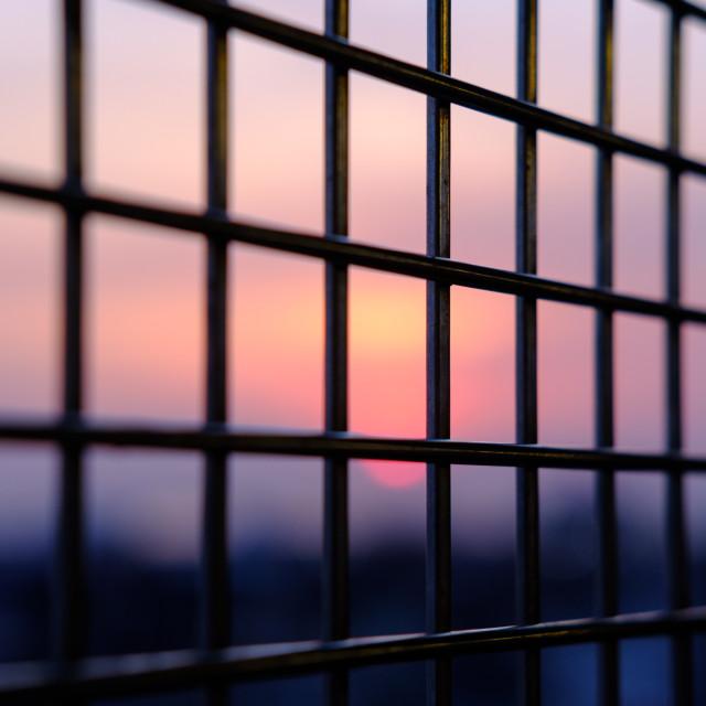 """Close up of metal window bars"" stock image"